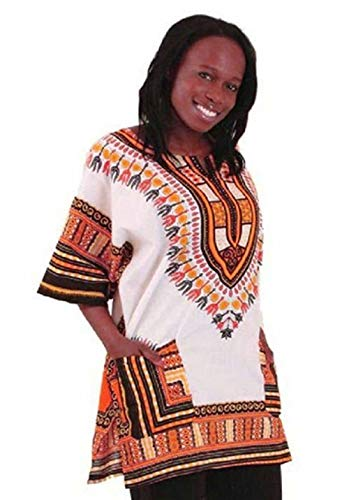 Traditional Thailand Style Dashiki - Available in Several Color Combinations (White with ()