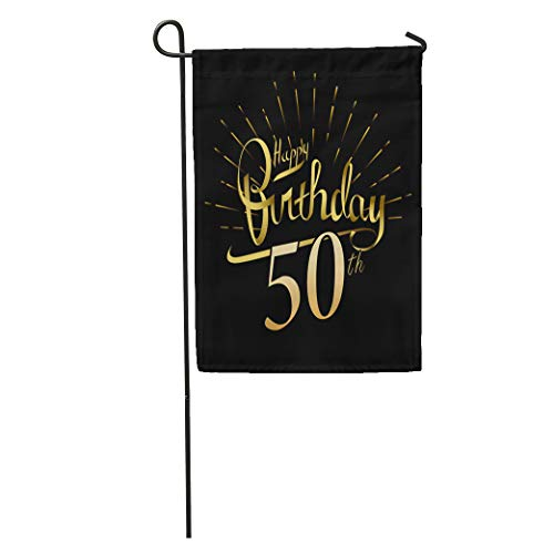 - Semtomn Garden Flag 50Th Happy Birthday Beautiful Word Gold Fireworks Modern Brush Lettering Home Yard House Decor Barnner Outdoor Stand 12x18 Inches Flag