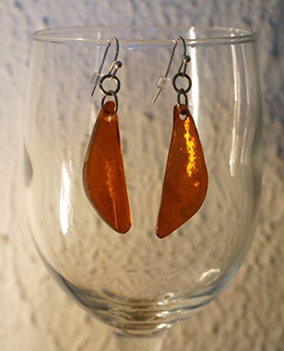 Amber-colored glass earrings with polished -