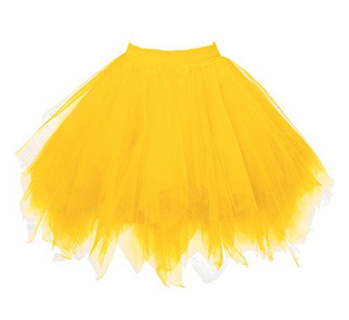 - Dressever Vintage 1950s Short Tulle Petticoat Ballet Bubble Tutu Gold Small/Medium