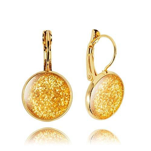 bba9d1a67365 Pendientes de Bisutería color Oro Brillante de Regalo Navidad para Mujer