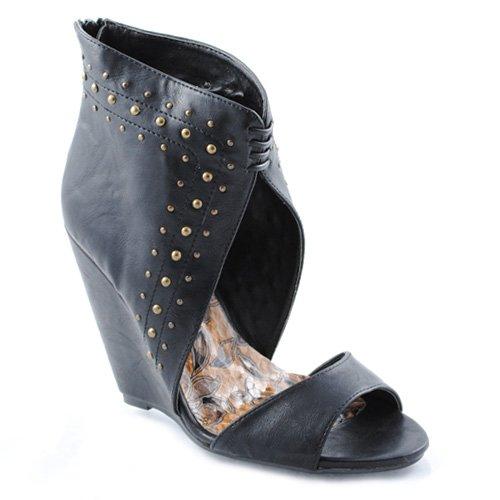 Liliana TIFAN Women's Wedge Sandals (9, Black)