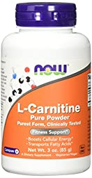 NOW L-Carnitine Pure Powder, 3-Ounce