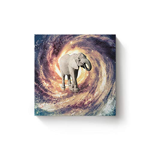 YEHO Art Gallery Square Canvas Wall Art Oil Painting Office Home Decor,Funny Elephant in The Universe Space Artworks for Christmas,Stretched by Wooden Frame,Ready to Hang,12 x 12 Inch]()