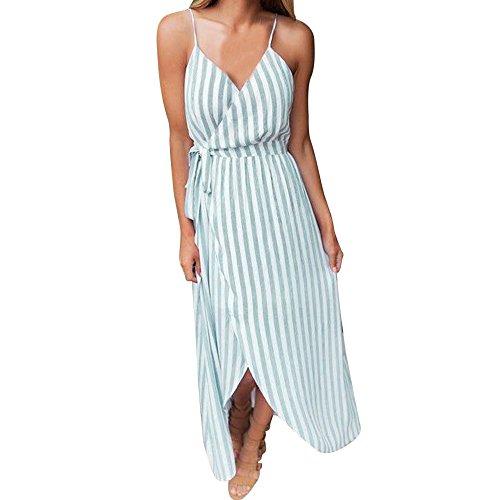 (Women Summer Chic Spaghetti Strap Cami Maxi Dress Wrap Bodice Sleeveless Stripe Dresses Boho Beach Long Dress by Lowprofile Green)