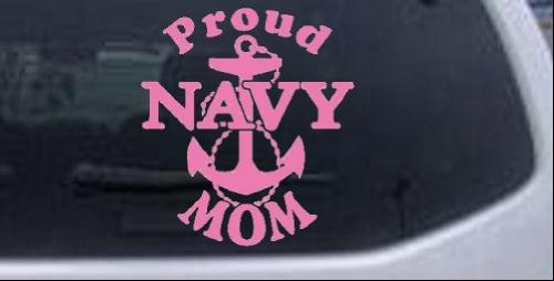 Proud Navy Mom Anchor Military Car or Truck Window Laptop Decal Sticker -- Pink 6in X 6.5in