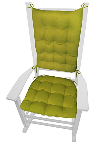 Barnett Rocking Chair Cushions - Cotton Duck Pear Green - Size Extra-Large - Latex Foam Fill, Reversible, Machine Washable (Solid Color) - Pear Chair