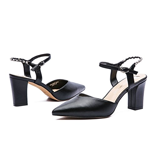 New Spring and Summer High-Heeled Sexy Pointed Hollow Women's Shoes (Color : Black, Size : 36)