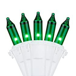 Holiday Essence 100 Green String Lights with White Wire -...