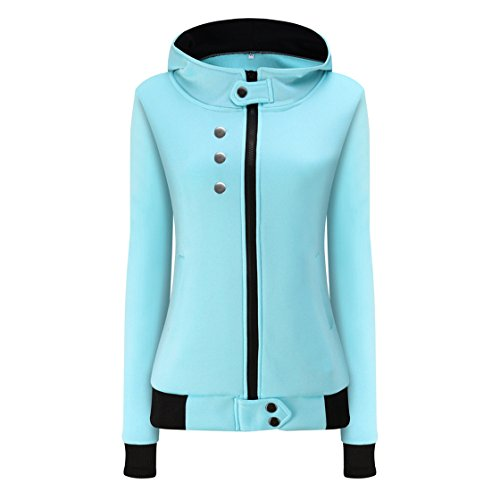 Fashion Solid Hooded Zipper (NEW MOSE Fashion Women Plus Size Casual Winter Solid Color Hoodie Velvet Coat Zipper Overcoat (Blue, S))