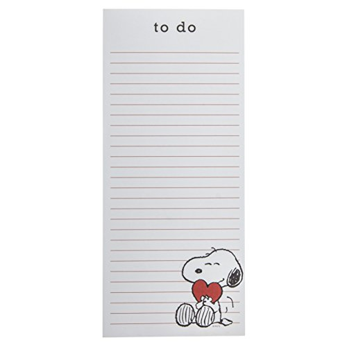 """Graphique Flower Love Magnetic Notepad, w/Classically-Designed Floral""""to do"""" List & 2 Magnets to Hang on Refrigerator or Whiteboard, 100 Lined Sheets, 4"""" x 9.25"""" x 0.5"""" (Peanuts with Heart)"""