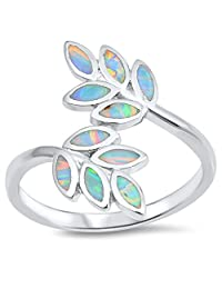 CHOOSE YOUR COLOR Sterling Silver Leaf Ring