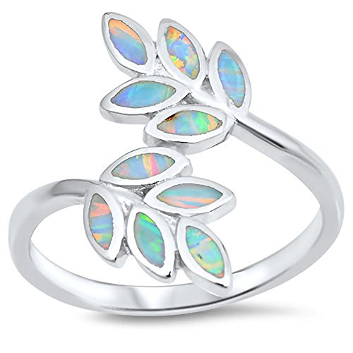 White Simulated Opal Leaf Branch Vine Tree Ring .925 Sterling Silver Band Size 10 (Ring Silver Tree Sterling)