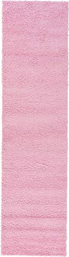 Unique Loom Solo Collection Plush Casual Pink Runner Rug (3' x 10') ()