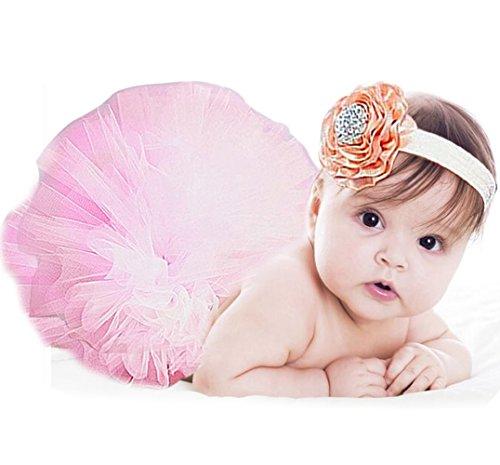 Jubileens Baby Infant Girls Photography Prop 2PCS Tutu Dress Headband Costume (Pink) (Cute Baby Costumes For Girls)