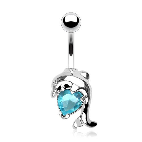 Dolphin Navel Ring Body Jewelry - Covet Jewelry Dolphin w/Heart CZ Navel Ring (Aqua)