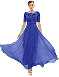 Womens Beaded Short Sleeves Lace Appliques Chiffon Long Prom Dress