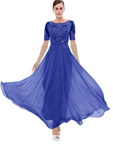 blue a line dress with sleeves - 7