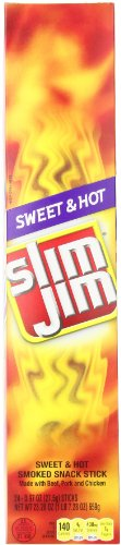 Slim Jim Giant Smoked Meat Sticks, Sweet & Hot, 0.97 Oz. (Pack of 24)