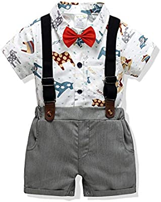 Carlstar Little Boys Gentleman Outfit Suits,Baby Boys Short Pants Set,Short Sleeve Shirt+Suspender Pants+Bow Tie 4Pcs
