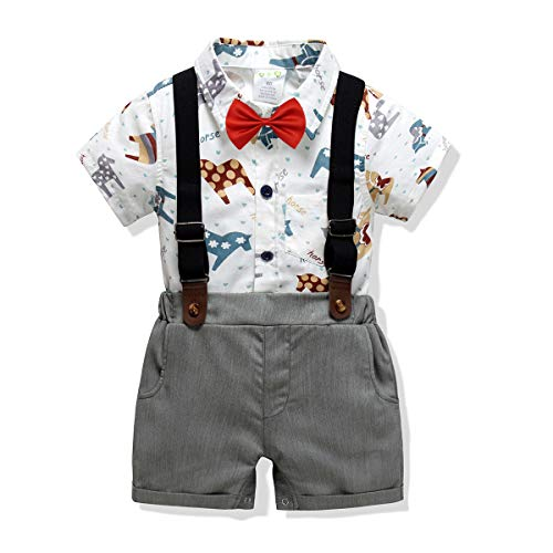 Baby Boys Short Sleeve Gentleman Outfit Suits,Infant Boys Short Pants Set, Short Sleeve Romper Shirt+Suspender Pants +Bow Tie 4Pcs Set (Horse, 18-24M/95) ()