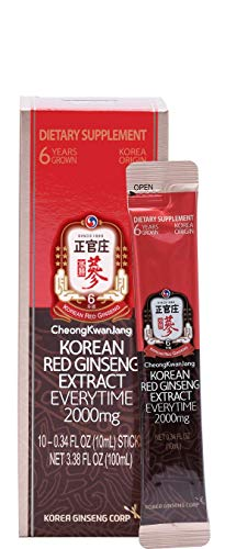 KGC Cheong Kwan Jang [Everytime 2000mg] Korean Panax Red Ginseng Extract Portable Sticks for Healthy Immune Support and Energy Levels - 10 Stick Packs