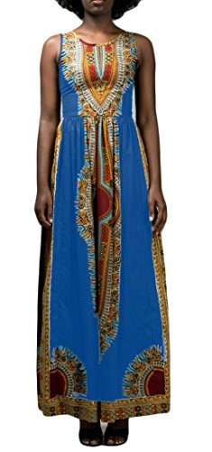 Dashiki Blu Girocollo Elegante Cromoncent Lungo Tribale Abito Sleeveless Stampa Africa Delle Donne xqIH6P
