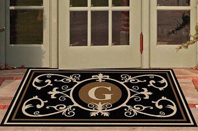 Edinburgh Estate Doormat - Monogrammed Black & Suede G 3 x 5 by The Personalized Doormats Company