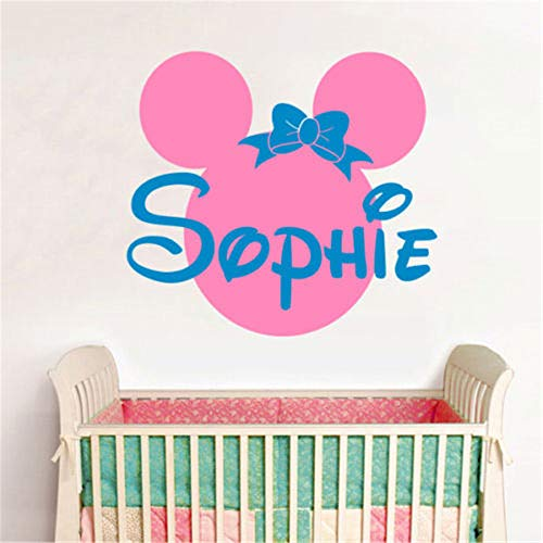 - Oisiu Mickey Mouse Wall Sticker Decal Personalized Name Minnie Mouse Vinyl Wall Stickers Baby Wall Decals Pink Wall Stickers for Kids