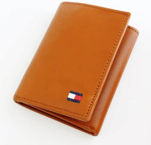 Tommy Hilfiger Dore British Tan Leather Passcase Credit Card Trifold Men's Wallet