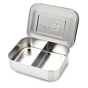 LunchBots Duo Stainless Steel Food Container - Two Section Design Perfect for Half of a Sandwich and a Side or for Use as a Snack Box - Eco-Friendly, Dishwasher Safe and BPA-Free - All Stainless