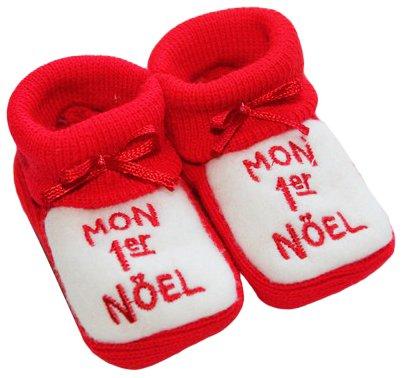 Noël bébé - Chaussons bébé brodés Mon 1er noël 0/3mois rouge