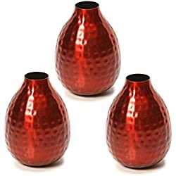 "Hosley Set of 3 Red Metal Bud Vases - 4.5"" High. Wonderful Accent Piece for Coffee Tables or Side Tables. Ideal Gift for Home, Office, Weddings, Party, Spa O3"