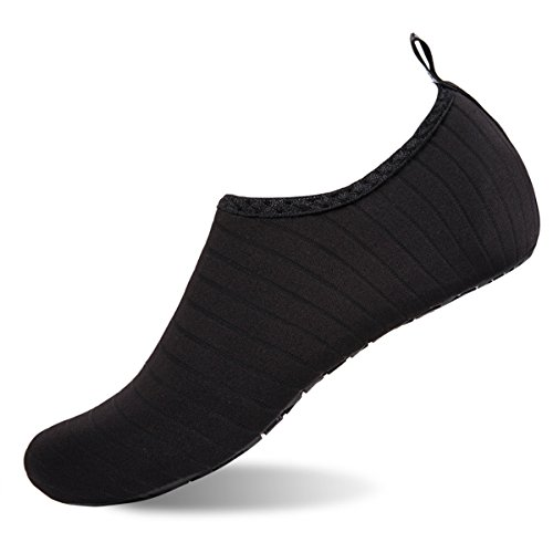 Womens and Mens Water Shoes Barefoot Quick-Dry Aqua Socks for Beach Swim Surf Yoga Exercise (TW.Black, M)