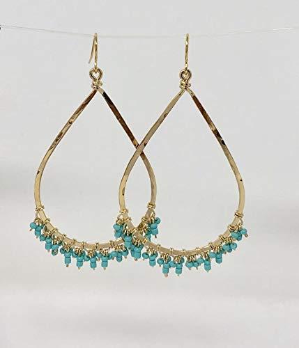 Gold Hammered Turquoise TEARDROP Fringe Hoop Earrings