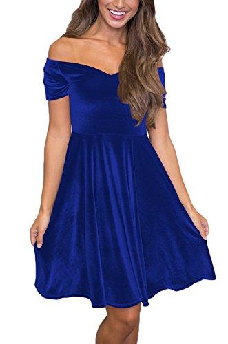 Domy Women's Off The Shoulder A-Line Ruffle Velvet Skater Pleated Midi Dress (M, Blue)