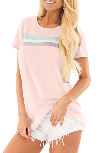 Short Sleeve Colour - Women Striped Cotton Short Sleeve Color Block Blouse Loose Fit Summer Basic Shirts Top Pink S