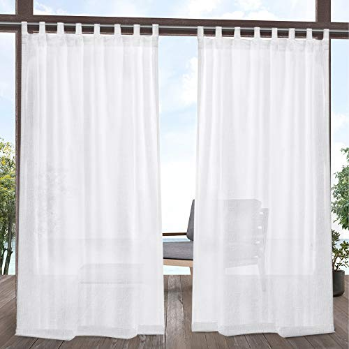 Exclusive Home Tao Indoor/Outdoor Sheer Linen Tab Top Curtain Panel Pair, White, 54x84, 2 Piece
