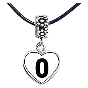 Chicforest Silver Plated Black Number 0 Photo Flower Head Dangle Heart Charm Beads Fits Pandora Bracelets