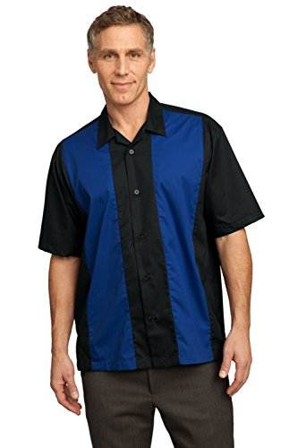 (Port Authority Twill Retro Camp Shirt - Black/Royal L)