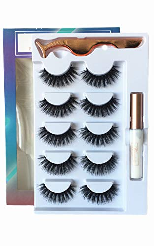 3D Fake Eyelashes With Glue Thick Full False Eyelashes With Glue 5 Pairs Reusable Cruelty-Free False Lashes Ruairie