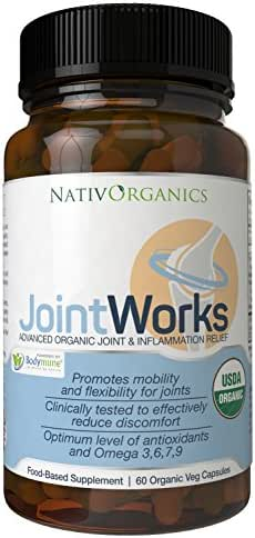 Natural Joint Supplement USDA Organic For Joint Support And Joint Health – Advanced Vegan Joint Supplement And Anti Inflammatory Supplement – 60 Vegan Caps - 2 Months Supply – JointWorks