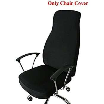 Ozzptuu Spandex Elastic Chair Cover Durable Pure Color Split Thin Section Chair Covers for Computer Office Desk (Black)