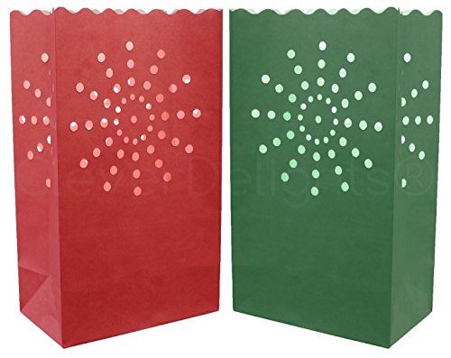 10 Pk - CleverDelights Red & Green Luminary Bags - Sunburst - Flame Resistant Christmas Holiday Luminaria for $<!--$8.49-->