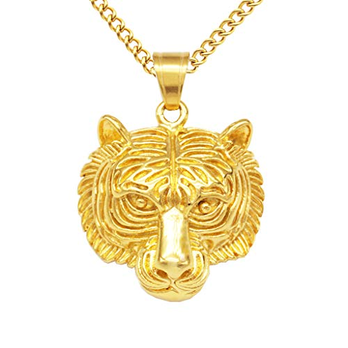- Fenteer Hip Hop Gold Plated Necklace Chain Men Tiger Head Pendant Necklace Jewelry - Gold