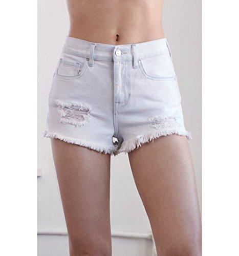 Bullhead Denim Co. Womens Ocean Blue Ripped High Rise Cutoff Denim Shorts