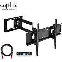 Suptek Articulating TV Wall Mount Bracket for 26-50(some 55) LCD LED Plasma 3D TV with VESA up to 400x400, Full Motion Tilt Swivel long arm(23 Extension) with HDMI Cable & Bubble Level MA109S