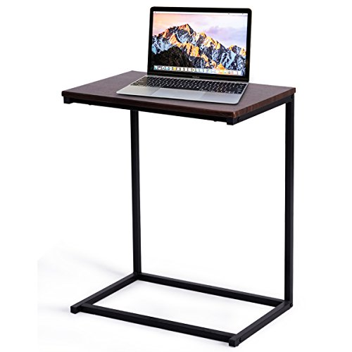 Tangkula Sofa Side End Table, C Shaped Table Laptop Holder, End Stand Desk Coffee Tray Side Table, Notebook Tablet Beside Bed Sofa Portable Workstation, Over Bed Table (Walnut) (Laptop Desk Table Sofa)