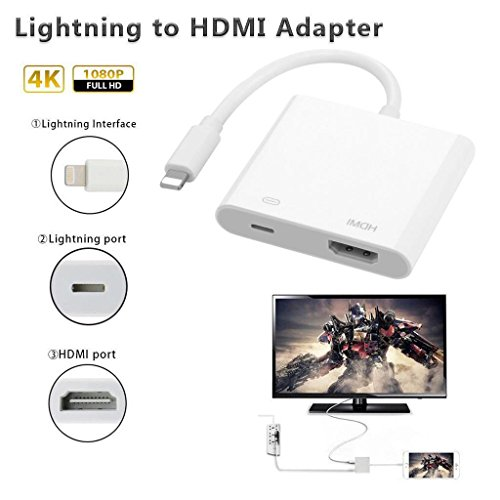 Lightning Digital AV Adapter HDMI connector connecting for iphone 5S / 6S / 7 / 8 plus iPad iPod to HDMI equipped TV Projector