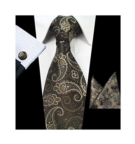 Mens Big Boys Silk Ties Skinny Paisley Woven Formal Business Dance Suit -